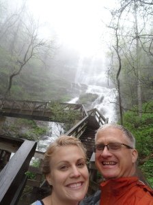 Mere and I climbing the 600 stair steps up to the top of Amicalola Falls