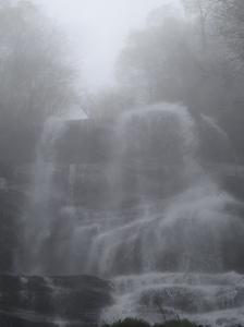 Misty shot of the upper Amicalola Falls