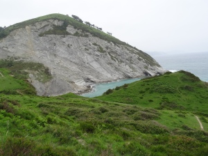 Zumaia to Deba HIke - See trees with cliff, I walked most of that edge