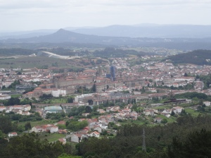 Santiago de Compostela from Monte Predoso - You can see the Cathedral -Restoration wrapped in blue