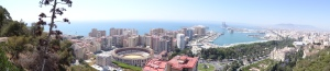 View of Malaga and port from Castiloo de Gibralfaro