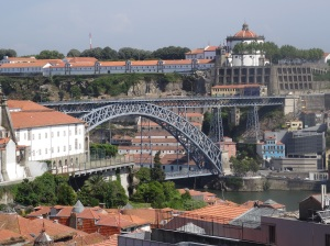 Porto - Dom Luis I Bridge in the background crossing the Douro River