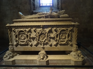 Neomanueline tomb of navigator Vasco da Gama at Jeronimos Monastery Mosteiro dos Jerominos in Belem