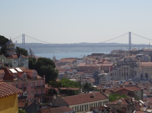 View of Lisbon, the Tagus River, and the blank Bridge that looks similar to the Golden Gate Bridge