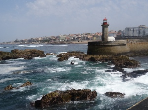 Small Lighthouse where the Douro River and the Atlantic Ocean meet